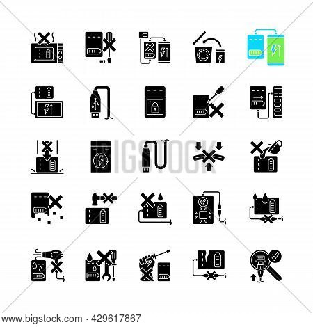 Power Bank Usage Black Glyph Manual Label Icons Set On White Space. Safe Handling. Prolonging Charge