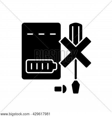 Dont Disassemble Powerbank Black Glyph Manual Label Icon. Do Not Dismantle Battery Pack. No Self-rep