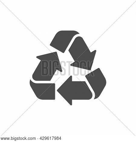 Recycling Glyph Icon Or Reuse Symbol Isolated On White
