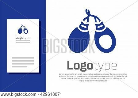 Blue Musical Instrument Castanets Icon Isolated On White Background. Logo Design Template Element. V