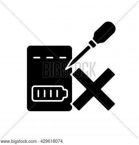 Dont Puncture Powerbank Black Glyph Manual Label Icon. Punctured Lithium Ion Battery Danger. Hazardo