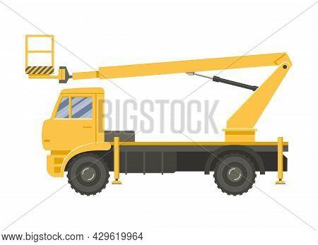 Yellow Elevated Work Platform Side View. Vector Flat Design Illustration.