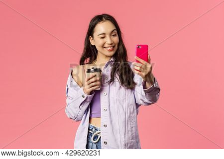 Start Your Day Right. Portrait Of Good-looking Enthusiastic Young Asian Girl In Stylish Outfit, Taki