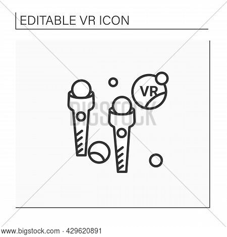 Vr Wireless Controllers Line Icon. Controller To Control Objects Or Characters In The Game. Joystick