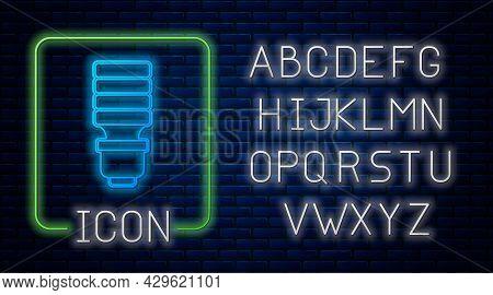Glowing Neon Led Light Bulb Icon Isolated On Brick Wall Background. Economical Led Illuminated Light