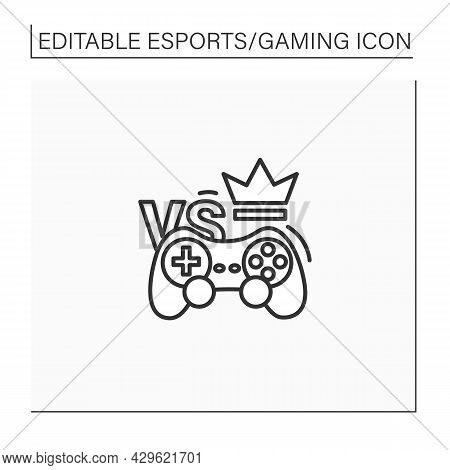 Esports Line Icon. Competition Form Using Video Games. Multiplayer Video Game Contest. Special Equip