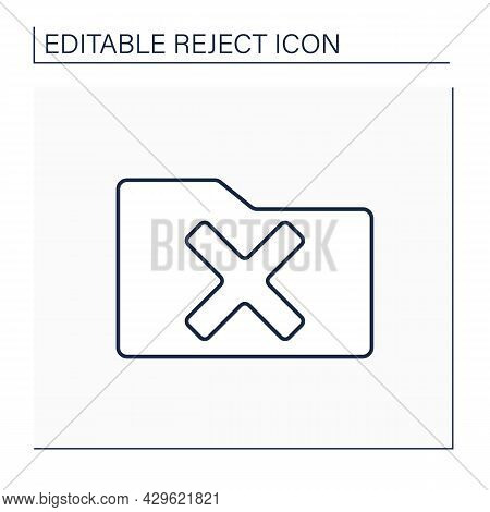 Rejected Folder Line Icon. Check In Paper Folder. Examine And Cancel. Confidential File. Reject Conc