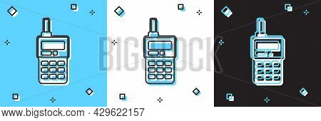 Set Walkie Talkie Icon Isolated On Blue And White, Black Background. Portable Radio Transmitter Icon