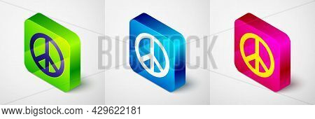 Isometric Peace Icon Isolated On Grey Background. Hippie Symbol Of Peace. Square Button. Vector