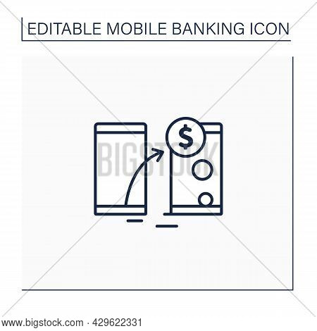 Transfer Funds Line Icon. Transaction Money From One Device To Another. Instant Transit Using Phone