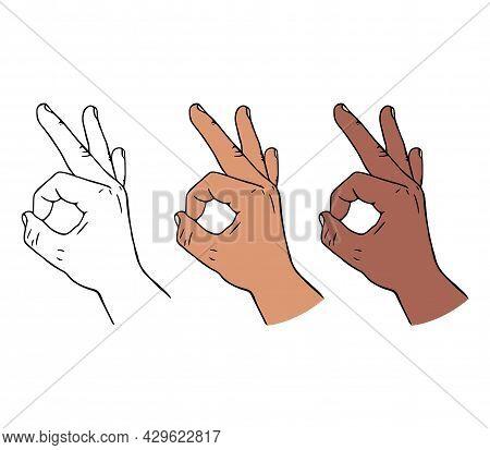 Hand Gesture Ok Or Okay In Cartoon Style.