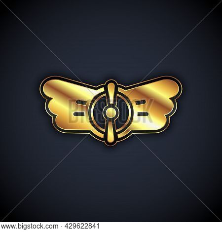 Gold Aviation Emblem Icon Isolated On Black Background. Military And Civil Aviation Icons. Flying Em