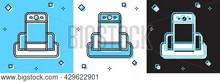 Set Metal Detector In Airport Icon Isolated On Blue And White, Black Background. Airport Security Gu