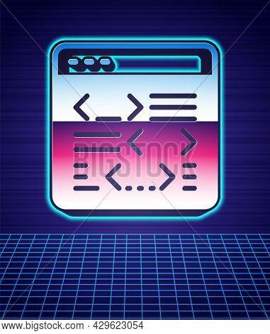 Retro Style Software, Web Developer Programming Code Icon Isolated Futuristic Landscape Background.