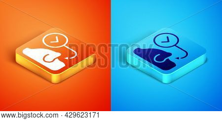 Isometric Healthy Breathing Icon Isolated On Orange And Blue Background. Breathing Nose. Vector