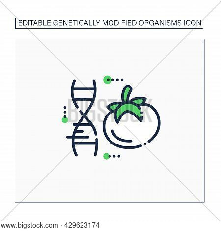 Tomato Line Icon. Genetically Modified Tomato. Gmo Product. Improving Genes. Microbiology. Genetical