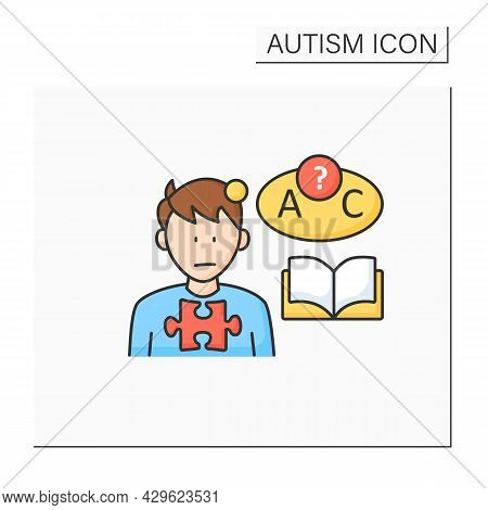 Neurodevelopmental Disorder Color Icon. Language Comprehension Deficit. Abnormal Learning Ability. A