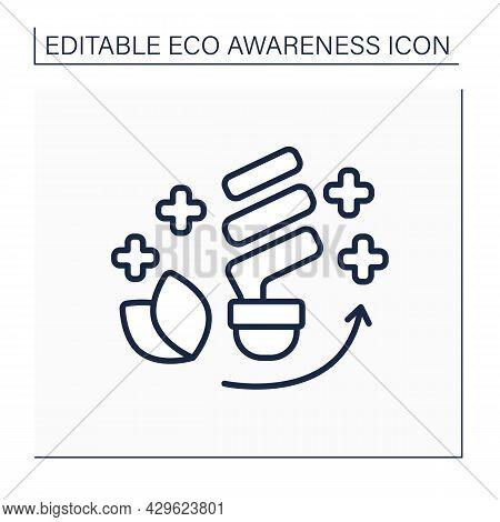 Economical Light Bulbs Line Icon. Energy Efficient Light Bulbs. Energy Saving. Ecology Protection. E