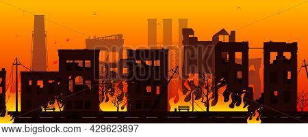 Destroyed City On Fire. War Or Natural Disaster Background