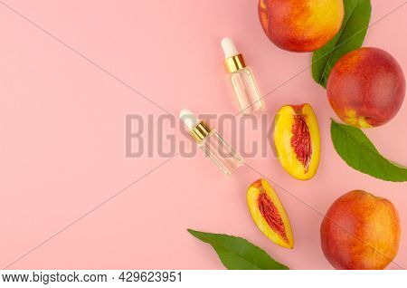 Natural Cosmetics, Hair Care. Natural Peach Oil. Two Bottles With Essential Peach Oil, Peaches And G