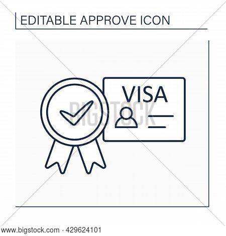 Approved Visa Line Icon. Endorsement On Passport Indicating Holder. Allowed To Enter, Leave, Or Stay