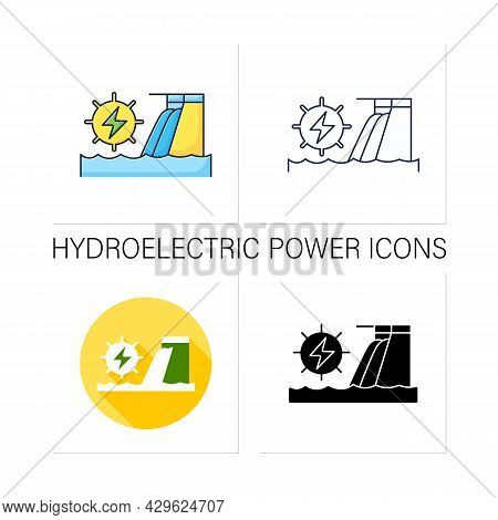 Hydroelectric Power Icons Set.harnesses Water Power. Waterfall Energy Generates Electricity. Electro