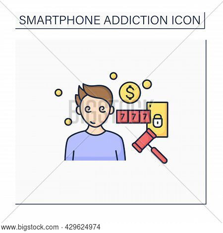 Online Compulsions Color Icon. Gampling Games Addiction. Betting, Casino. Three In A Row. Smartphone