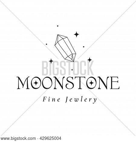 Mystic Cristal Logo Design. Stars, Gem. Moonstone.