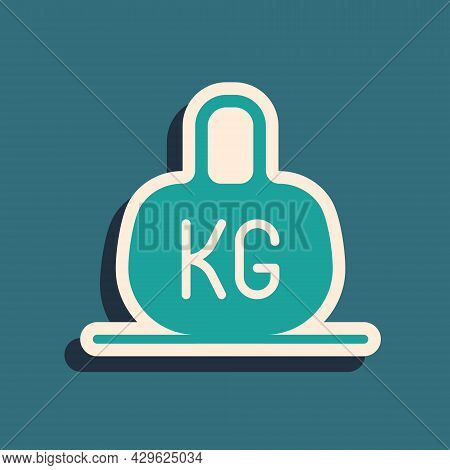 Green Weight Icon Isolated On Green Background. Kilogram Weight Block For Weight Lifting And Scale.