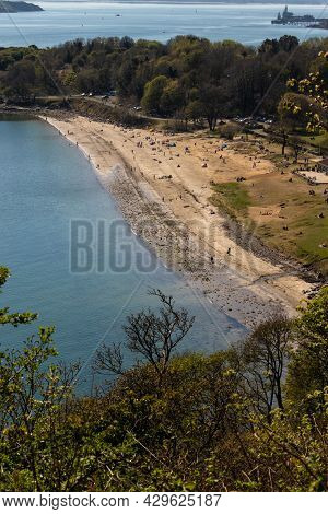 Silver Sands Beach, Aberdour - High Overlooking Woodland View Of People Enjoying A Spring Day At The