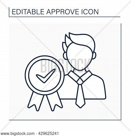 Approved Candidate Line Icon. Appointed Person To Get A Job Or Elected Position. Politician Candidat