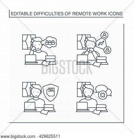 Remote Work Line Icons Set. Stayed Motivated, Loneliness, Collaboration. Spontaneous Conversations.