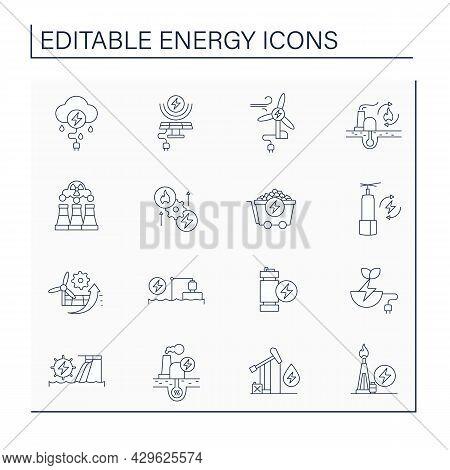 Energy Line Icons Set. Thunderstorm, Solar, Wind Energy. Nonrenewable Sources. Power Stations. Elect