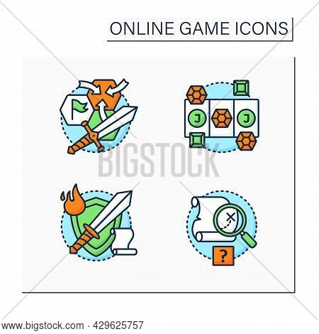 Online Game Color Icons Set. Different Game Types. Quest, Role Play, Three In Row, Strategy Games. M