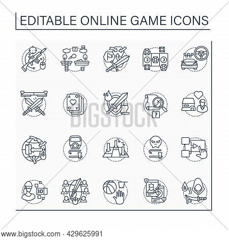 Online Game Line Icons Set. Different Game Types. Arcade, Role Play, Simulation. Virtual Reality. Mo