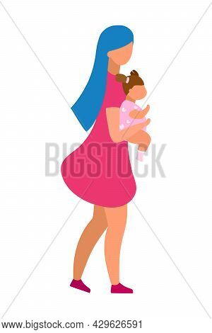 Mother Embracing Toddler Girl Semi Flat Color Vector Characters. Full Body People On White. Parent-c