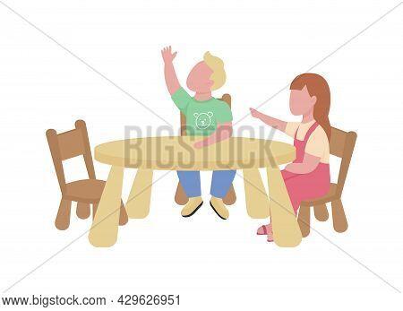 Kindergarteners Raising Hands Semi Flat Color Vector Characters. Full Body People On White. Elementa