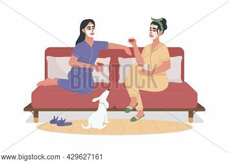 Girls Drinking Wine On Comfy Couch Semi Flat Color Vector Characters. Full Body People On White. Fac