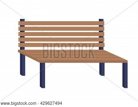 Bench For Public Places Semi Flat Color Vector Object. Full Sized Item On White. Long Seat For Parks