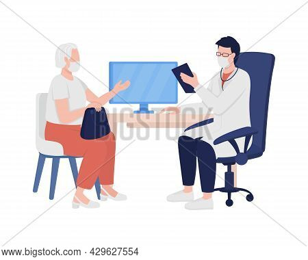 Physician Gathers Patient Medical History Semi Flat Color Vector Characters. Full Body People On Whi