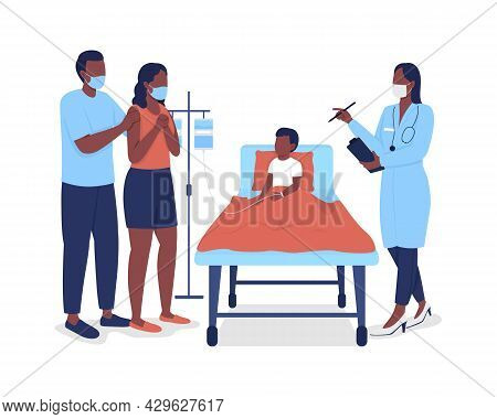 Pediatric Hospitalization Semi Flat Color Vector Characters. Full Body People On White. Doctor Treat