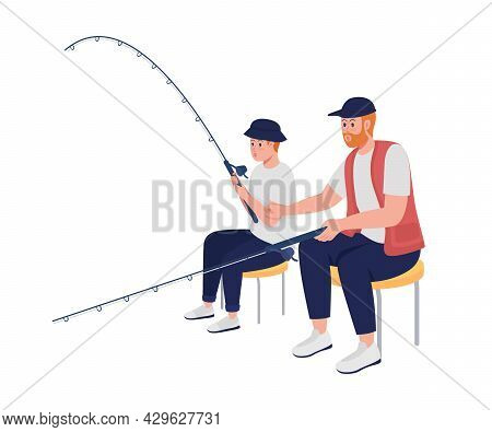 Father Teaching Teenager To Catch Fish Semi Flat Color Vector Characters. Full Body People On White.
