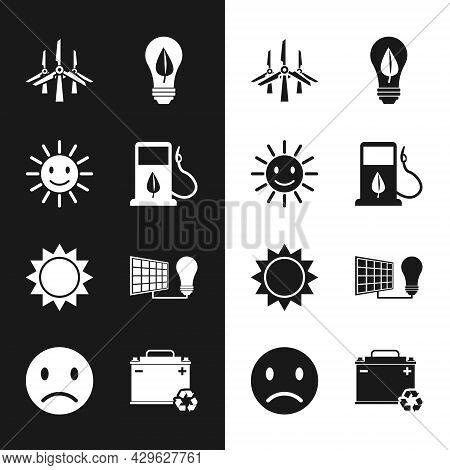 Set Bio Fuel With Fueling Nozzle, Cute Sun Smile, Wind Turbines, Light Bulb Leaf, Sun, Solar Energy