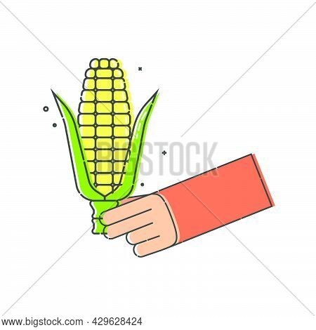 Yellow Corn Cob With Leaves In Human Hand On White Background. Organic Vegetable For Eating. Flat Il