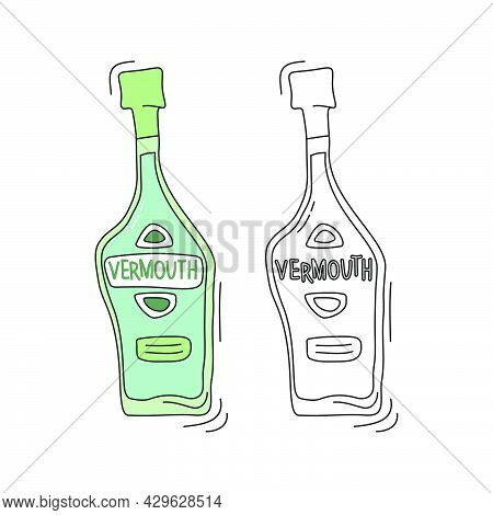 Vermouth On White Background. Two Kinds Beverage. Cartoon Sketch Graphic Design. Doodle Style With B