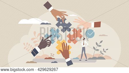 Team Work Solution And Partnership Puzzle Work Together Tiny Person Concept. Businessman Cooperation