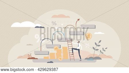 Financial Increase And Economical Performance Growth Tiny Person Concept. Successful Business Revenu