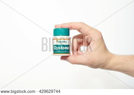 Kaliningrad, Russia - 03.07.2020 - Himalaya Cystone Ayurveda Dietary Supplement For Prevents The For