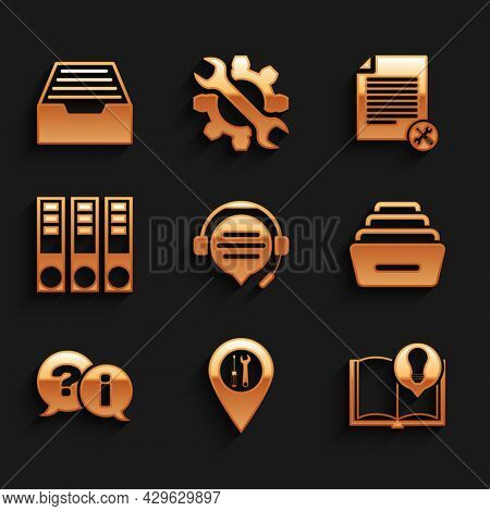 Set Headphones With Speech Bubble Chat, Location Service, Interesting Facts, Drawer Documents, Quest