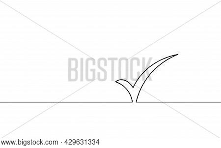 Single Continuous Line Check Icon Silhouette. Approved Test Correct Right Element Concept Design. On
